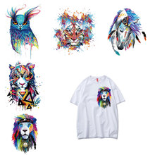 Fashion Colorful Animal Patch Iron on Transfers for Clothing Diy T-shirt Vinyl Applique Clothes Stickers Tops Thermal Press E
