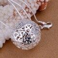 Moda 925 carimbado banhado a prata Colar Para Mulheres Oco Amor Do Coração Em Forma de Bola & Pingentes Colares de Jóias de Prata Esterlina