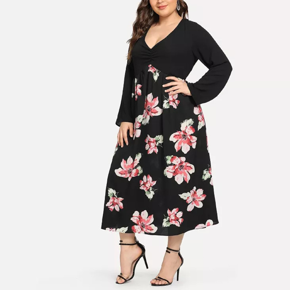 Women Long Dresses V Neck Wrap Long Sleeve Plus Size Dress #4S19 #F