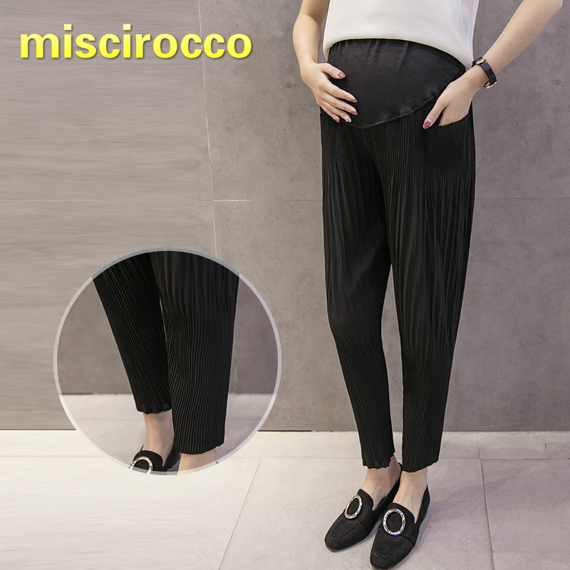 Maternity Clothings Pregnant Women's Pants Summer Chiffon Women's Sport Hallen Pants Nine-minute Pleated Comfortable