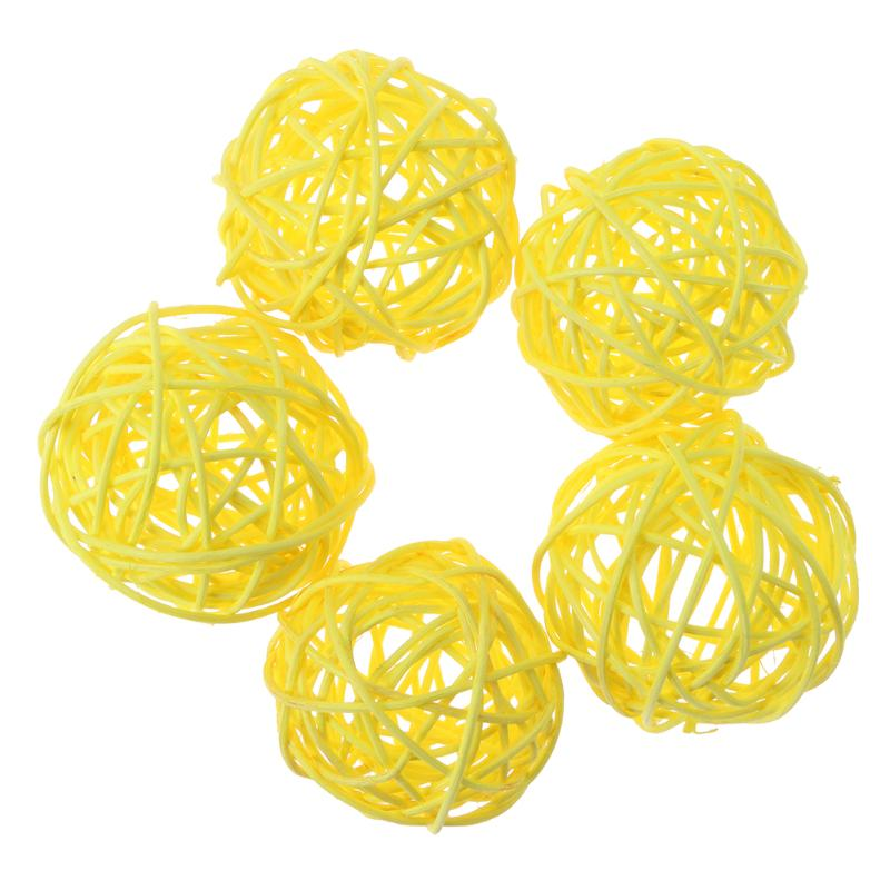 100% Original assorted Color 5pcs Wicker Rattan Ball Wedding Christmas Party Hanging Dec Nursery Mobiles 3cm