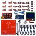 Kit de rampas Reprap 1,4 + Mega 2560 + Heatbed mk2b + controlador LCD 12864 + DRV8825 + terminal mecánico + cables para impresora 3D