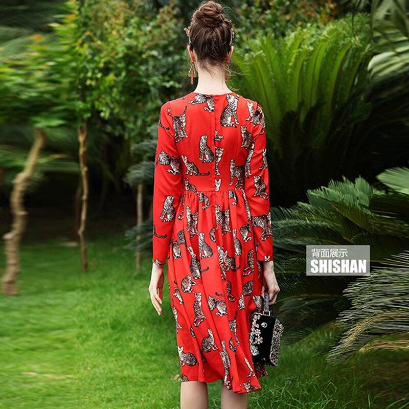 Assez Cat Manches Personnaliser Printemps Mignon Été Designer Mode Piste mollet 2017 Imprimer Longues À Dress Femmes Robes Rouge Classique Mi 5qvrwq1T