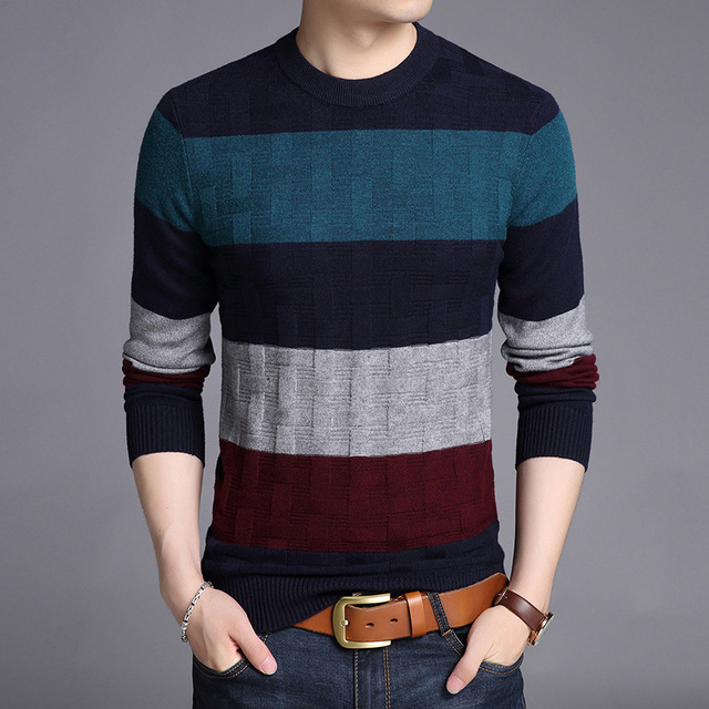7fa2b1367bc Woolen Sweater Men 2018 Autumn Winter Fashion Men s Patchwork Slim Fit  Sweater Cashmere Pullover Man Casual Blouse Top Quality