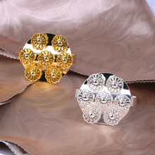 50PCS metal napkin circle creative flower ring gold / silver home hotel party jewelry