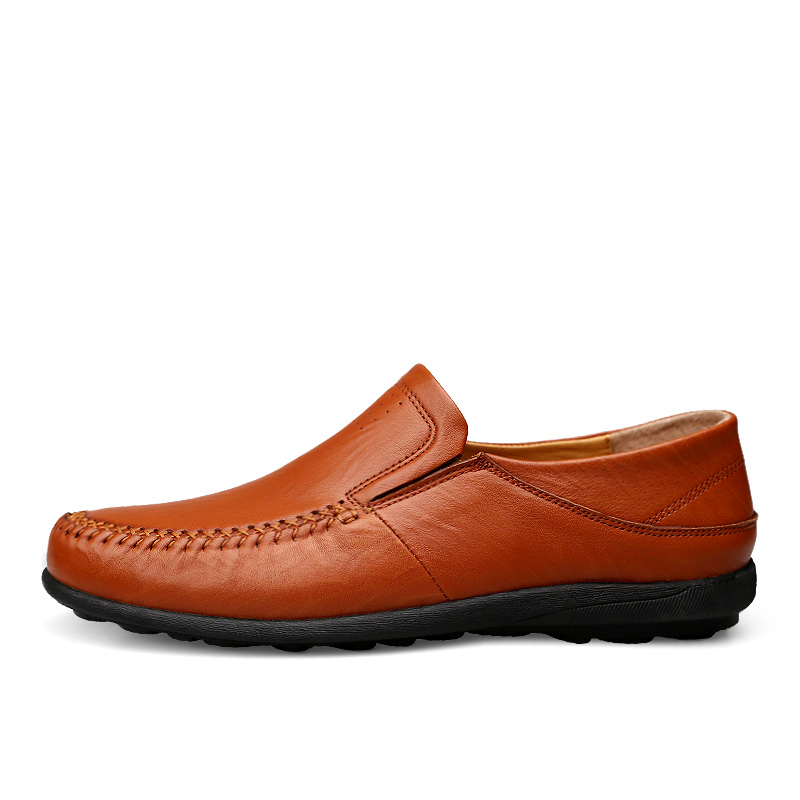Big Size37 46 Hand Made Men Genuine Leather Shoes Driving Shoes Spring Autumn Round Toe Slip