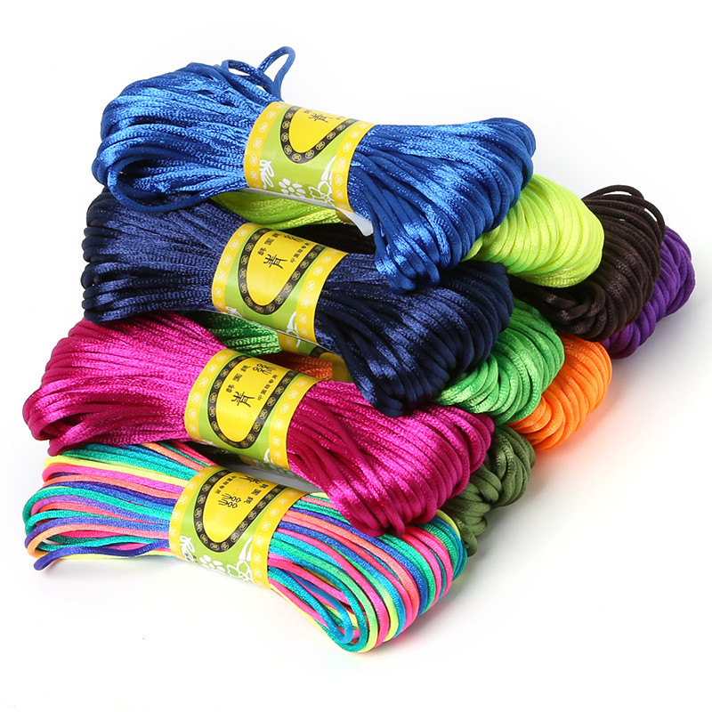 High Quality 2mm 20M Chinese Knot Cord Rattail Satin Braided String Mixed 29 Colors For DIY Rope Jewelry Findings Beading