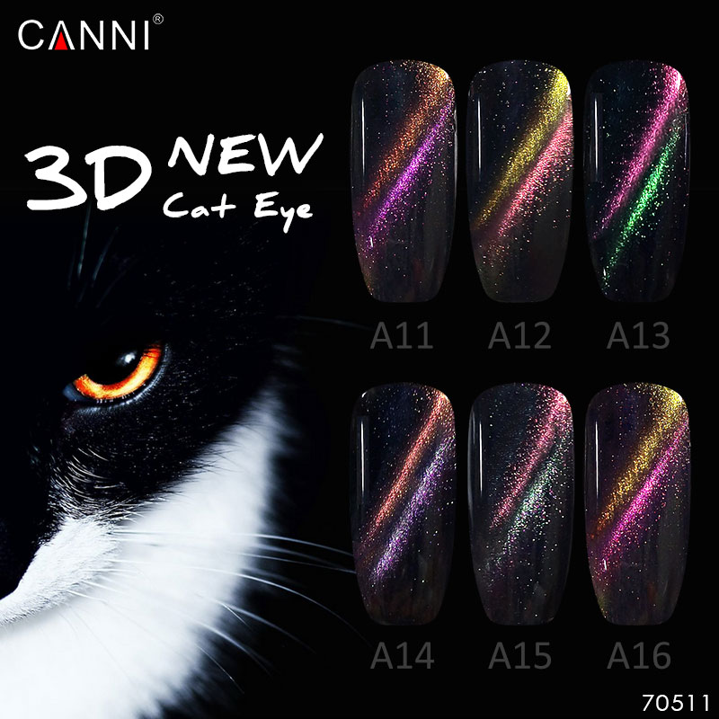#822 CANNI 3D Cat Eye Gel Polish 1kg Magic Nail Art Salon DIY Manicure Starry Cat Eye Effect Double Line Magnetic UV Gel Polish 12boxes set 1g perfect cat eye effect magic mirror powder uv gel polish nail art magnet glitter pigment diy nail decoration