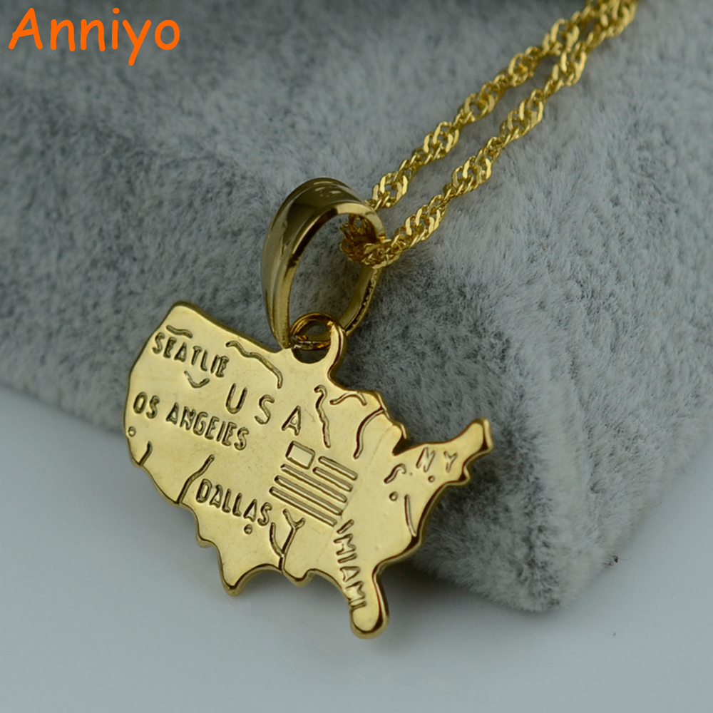 Anniyo USA America Map Necklace Patriotic July 4th Gold Color Jewelry United States Maps ...