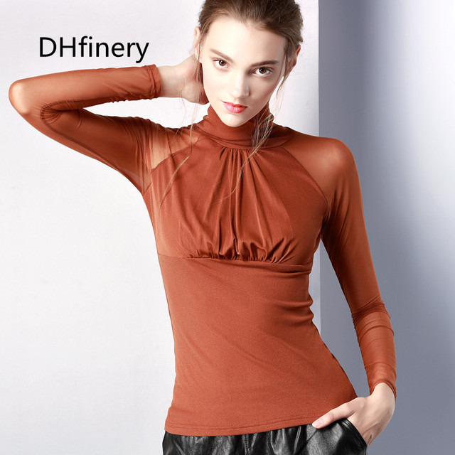 DHfinery mesh t shirt women autumn sexy turtleneck perspective Big bust long sleeve T-shirt black white elasticity top sg26110