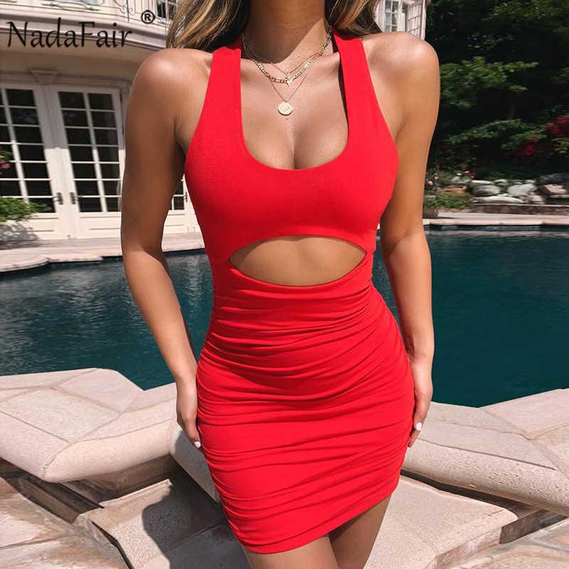 Nadafair Летнее мини сексуальное облегающее платье для женщин с рюшами с открытой спиной бандаж Холтер Клубные вечерние платья красные Vestidos