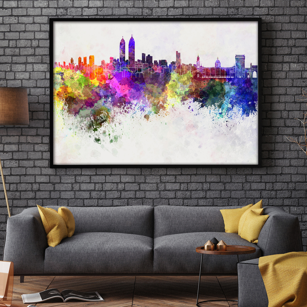 Modern Watercolor Art Colors Mirage Urban Abstract A4 Canvas Print Poster Image Paintings Living Room