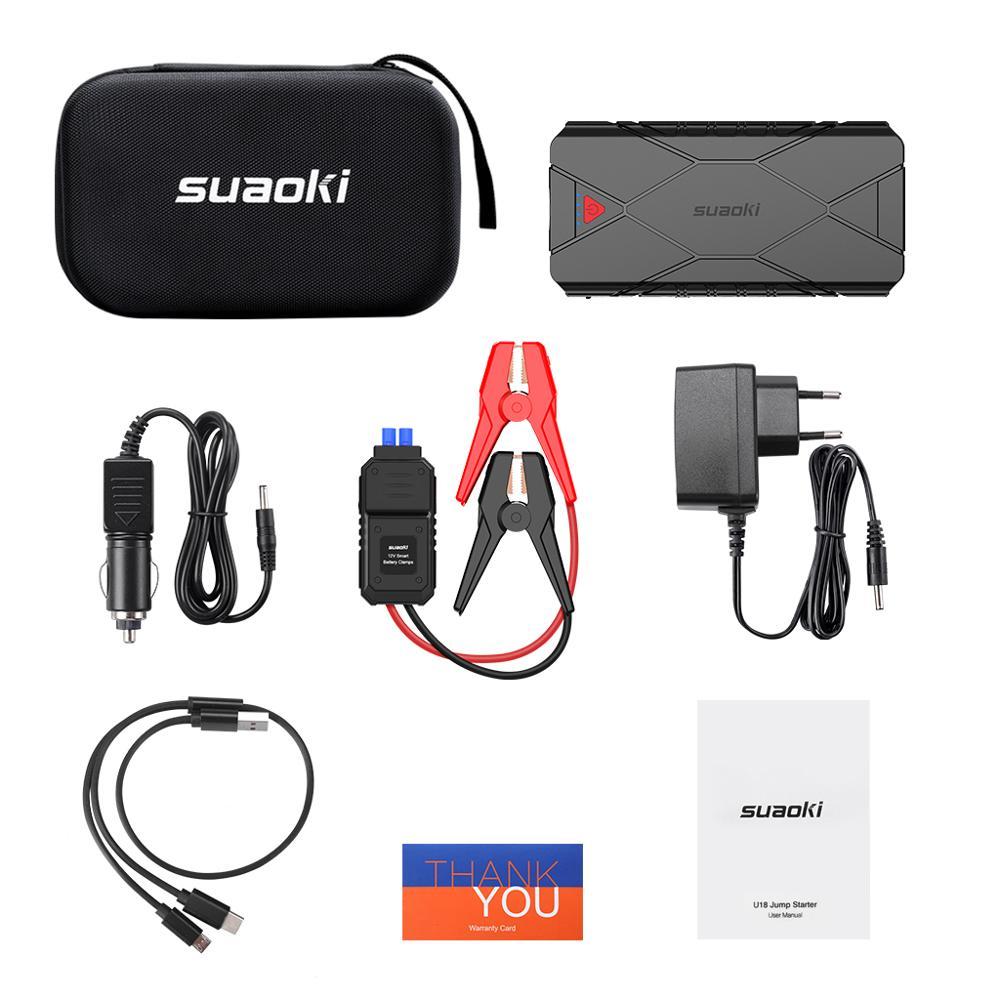 Suaoki 3 в 1 перезаряжаемый автомобильный стартер для подзарядки USB QC 3,0 Type C для зарядки телефона, светодиодный фонарик, аккумулятор 16000 мАч - 6