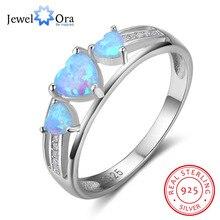 Mujeres 100% 925 tres Corazón Azul ópalo piedra Anillos moda Promise anillo Regalos para la esposa (jewelora ri102842)