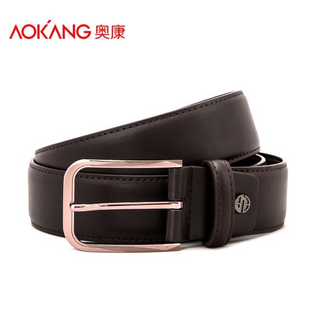 Aokang 2016 Unique Mens Belts 100% Top Grain Cow Leather Brown Pin Buckle Cowboy Belts Metal Buckle Belt Free Shipping Wholesale