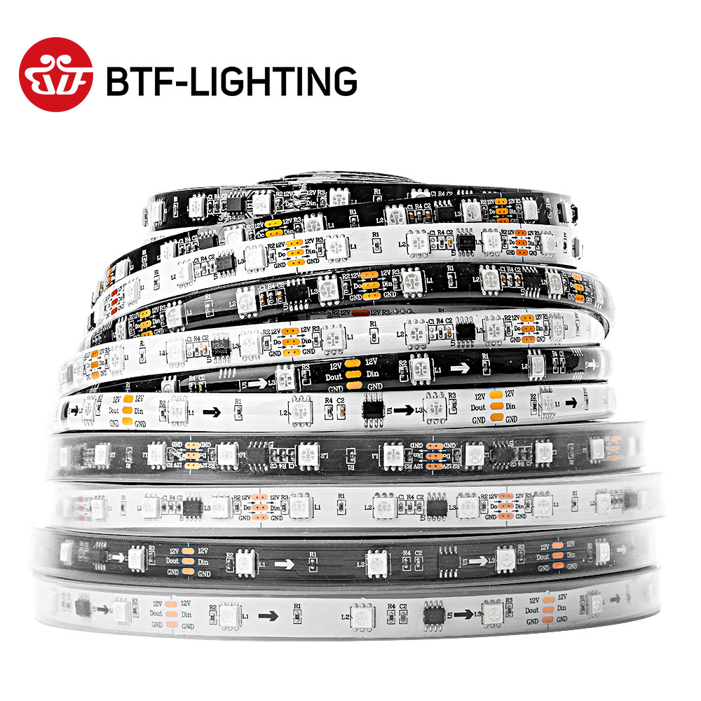 WS2811 5050 SMD RGB Stripable Addressable 30/48/60/96 / 144leds / m Led بكسلات خارجية 1 Ic Control 3 LEDs عادي / مشرق 5m DC12V
