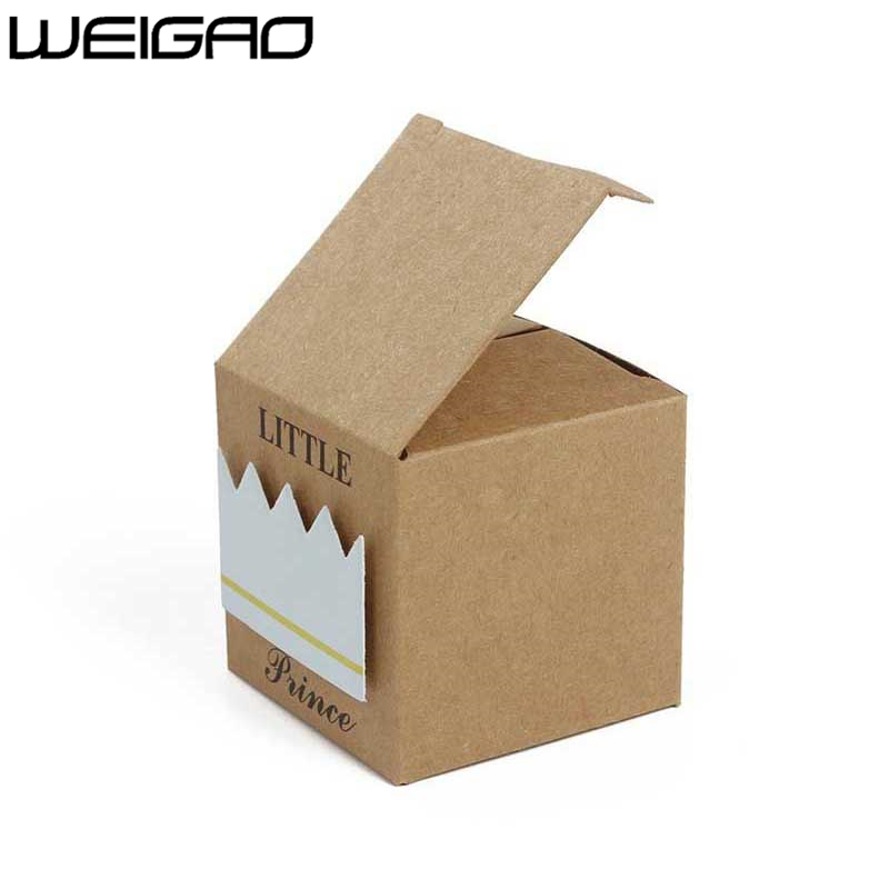 Image 3 - WEIGAO 20pcs/40pcs Kraft Paper Candy Box Baby Shower Gifts For Guests Birthday Party Babyshower Boy Girl Gift Bag Party Supplies-in Gift Bags & Wrapping Supplies from Home & Garden