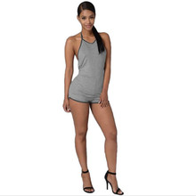 Sleeveless Summer Style Rompers Women Black Gray Jumpsuit Ladies Sexy Backless