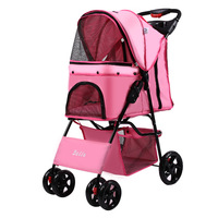 High Quality Foldable Four Wheel Oxford Pet Stroller for Cat Dog Lightweight Dog Cat Carrier Strolling Cart with Storage Layer