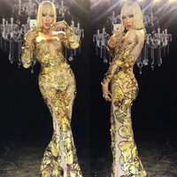 new Sexy Skinny Gold Rhinestones Rompers woman Singer Dancer Big Pants Costume One piece Bodysuit Nightclub Party Jumpsuit