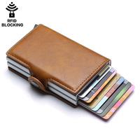 UMODIER Men And Women PU Leather Unisex Business Card Holder RFID Wallet Bank Credit Card Case ID Holders Metal Aluminium Purse