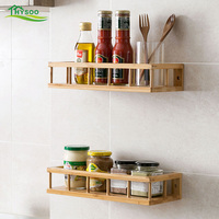 Bamboo kitchen racks free punching seasoning shelf wall hanging storage rack condiment wall hanging shelf