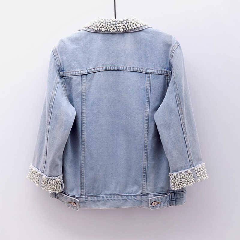 Модная короткая джинсовая куртка с бисером, три четверти кардиган светло-голубой однобортный Топ, джинсы новая осенняя женская джинсовая куртка HS447