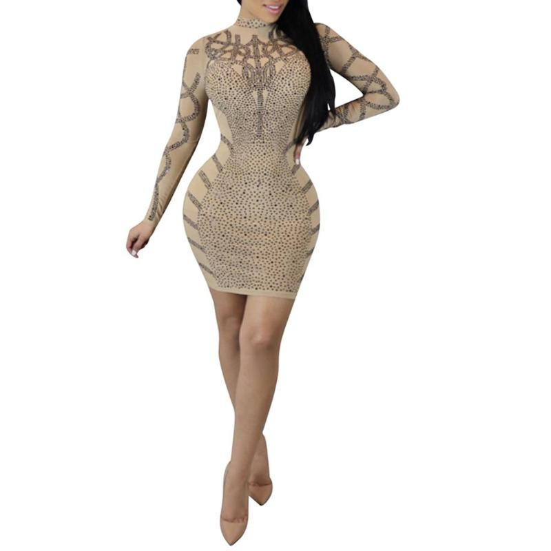 Women Sexy Patchwork Rhinestone Bodycon Mini Hip-wrapped Dresses Sequins Long Sleeve Stand Collar Night Club Sexy Dress