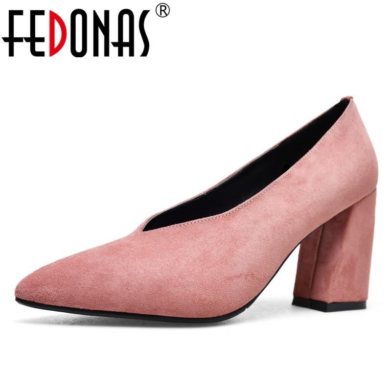 FEDONAS النساء مضخات كعوب عالية على الموضة أحذية ريترو جودة جديد المرأة الزفاف أحذية السيدات الكعب سميك مكتب مضخات-في أحذية نسائية من أحذية على  مجموعة 1