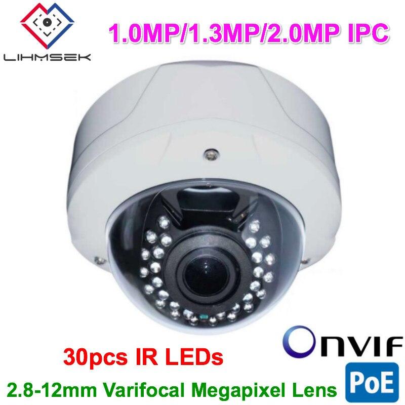 Lihmsek 2.0MP CMOS sensor IP Camera 1080P Indoor Vandalproof IR Dome Camcorder CCTV Security Model with 2.8-12mm Varifocal Lens