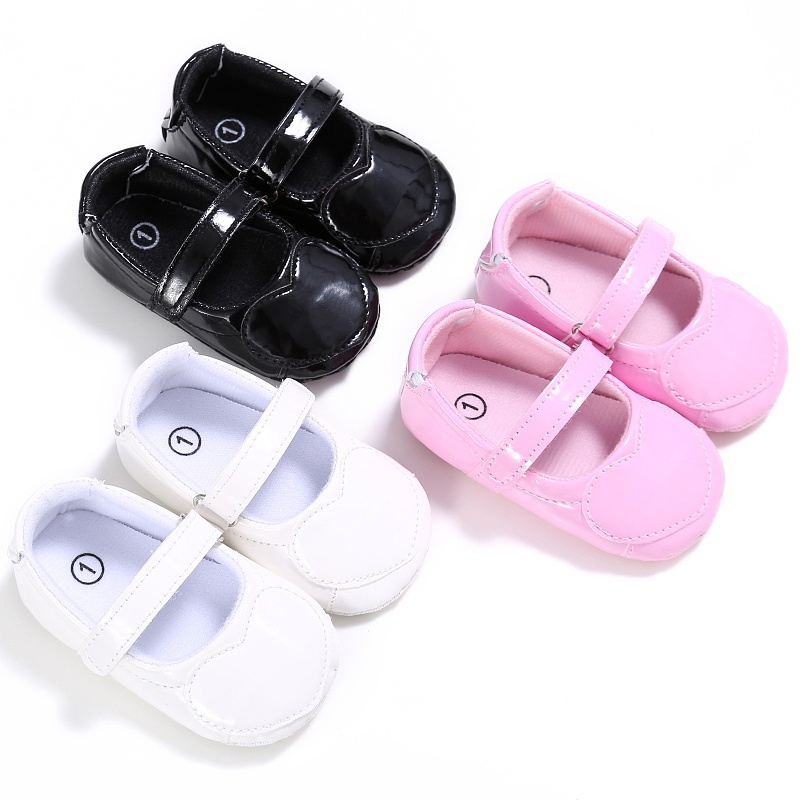Spring Newnorn Kids Girls Cute Heart Pattern Solid Color Style Baby PU Non-slip Soft Bottom Cack Shoes