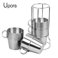 UPORS 4PCS Outdoor Beer Wine Coffee Cup Double Wall Coffee Mugs Tea Cup Stainless Steel Vacuum Travel Coffee Mug