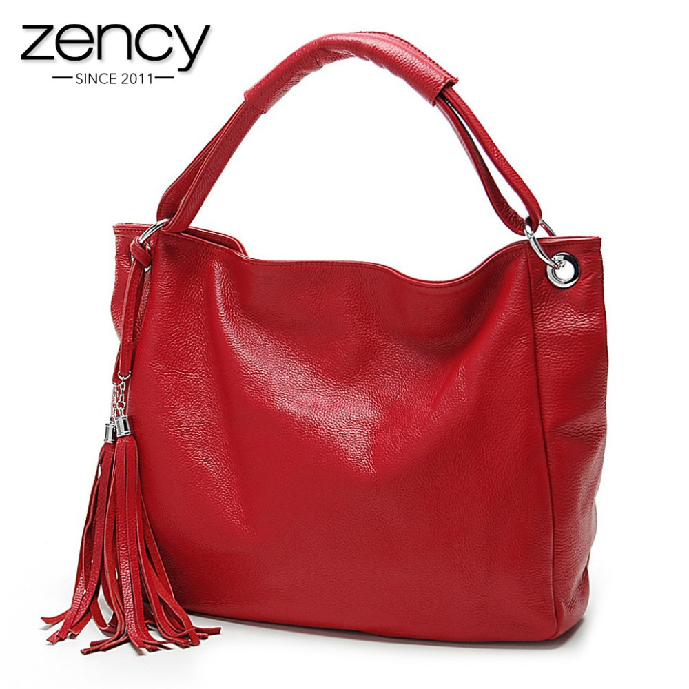11Cls Bolsas Fashion 100% Italian Soft Genuine Leather Tassel Women's Handbag La