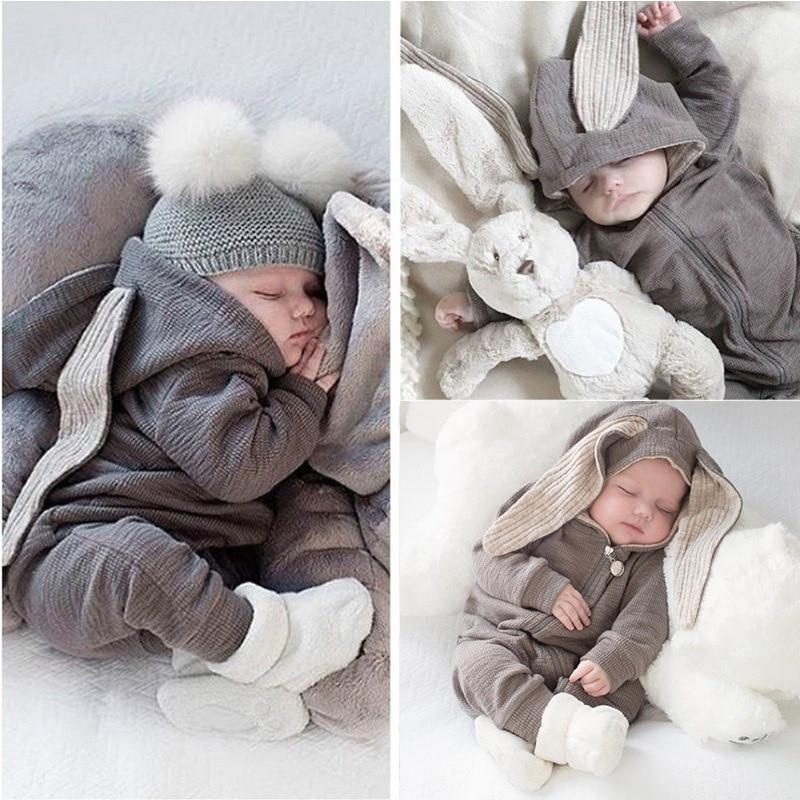 2019 Hot Sale Spring Infant Baby Boys Girls Ropmersuit Newborn Baby hooded overall Children Kid Zipper Cartoon Bunny Ear   Romper