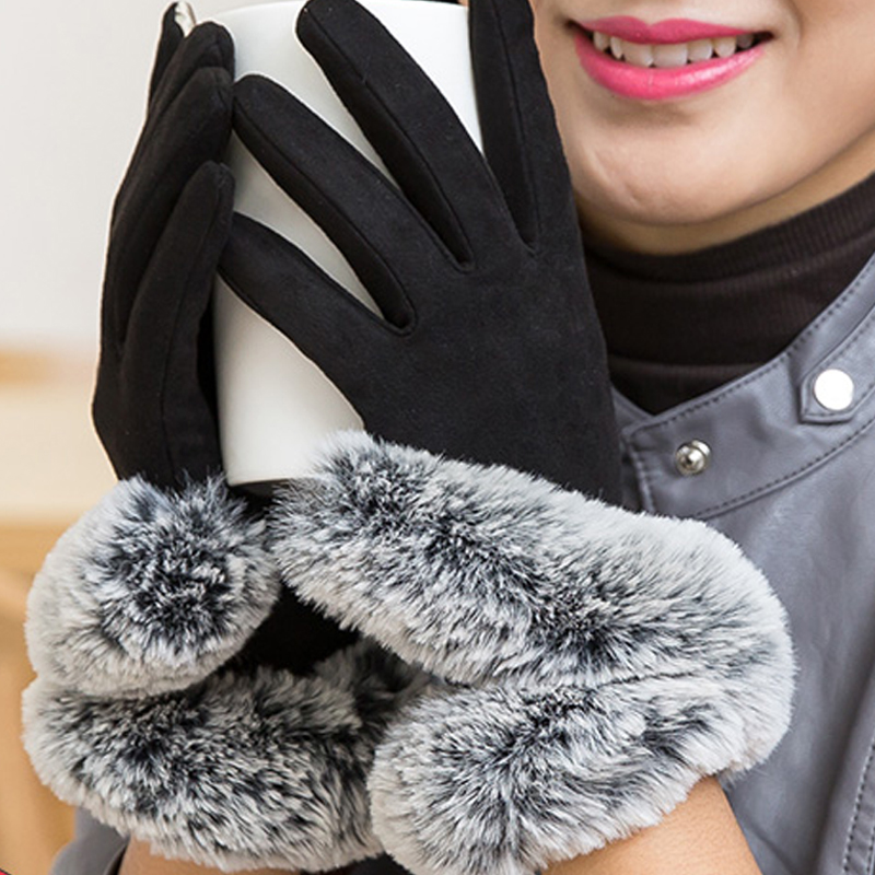 LongKeeper 2017 New Autumn Elegant Winter Gloves Women Cotton Gloves Mittens Real Rabbit Fur Pompom Touch Screen Driver's Gloves