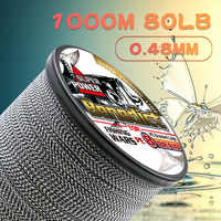 Fishing pe braided line 1000M 1096yd 8 strands sea fish 6-150LBS test Saltwater double braided Black&white super mix color wire