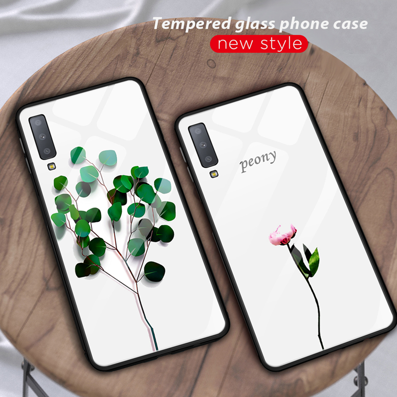 Tempered Glass Phone Case For Samsung Galaxy A7 2018 A750 S10 Plus S10e Coque Cover Silicone Bumper Protective Capa