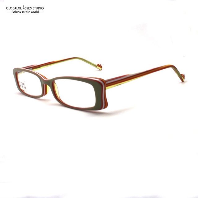 Rectangle Lens Acetate Optical Glass Green on Candy Color Lively Student Eyewear Prescription Spectacle Eyeglass LX-L3181
