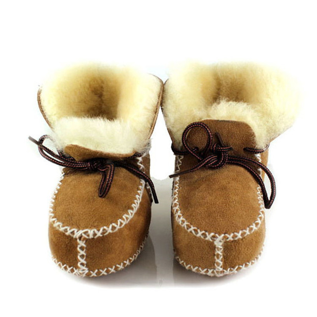 New 2015 Winter Baby Girls Boys Warm Snow Boots Genuine Leather (Fur) Newborn Boy Toddler Girl Shoes Leather Baby Moccasins S-01
