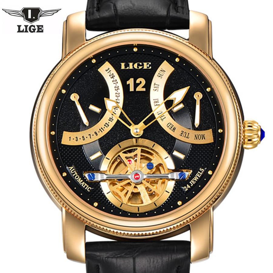 LIGE Man watch Luxury Brand Fashion Casual Tourbillon clock Men Gold Wristwatches automatic Mechanical Watch 5