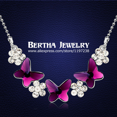 Top Quality Flowers Butterfly Choker Necklace Chain Colar With Swarovski Elements Crystals For Women Fashion Statement Jewelry