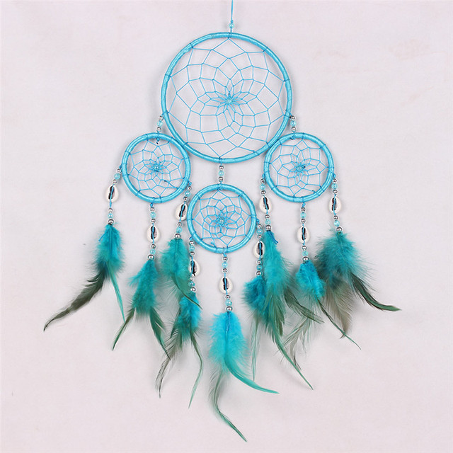 6 Colors Dream Catcher Circular Colorful Feathers Wall