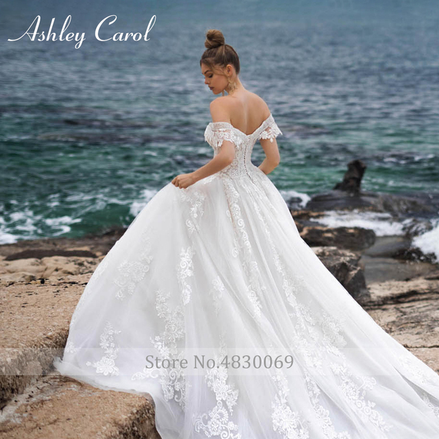 Ashley Carol A-Line Wedding Dress 2021 Sweetheart Beaded Appliques Lace Up Bride Dresses Cathedral Vestido De Noiva De Princesa 5