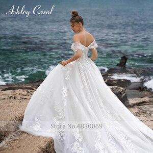 Image 5 - Ashley Carol line suknia ślubna 2020 Sweetheart zroszony aplikacje zasznurować suknie panny młodej katedra Vestido De Noiva De Princesa