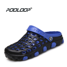 POOLOOP Comfortable Men Sandals Men Slip On Garden Croc Clogs Outdoor Beach Shoes Casual Water Slippers Soft Yeez Men Shoes