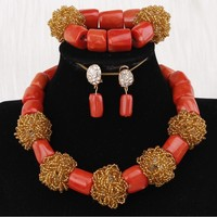 Dudo Nature Coral or Crystal Jewellery Sets For Women Handmade Big Balls African Beads Jewelry Set Nigerian Weddings Set 2019