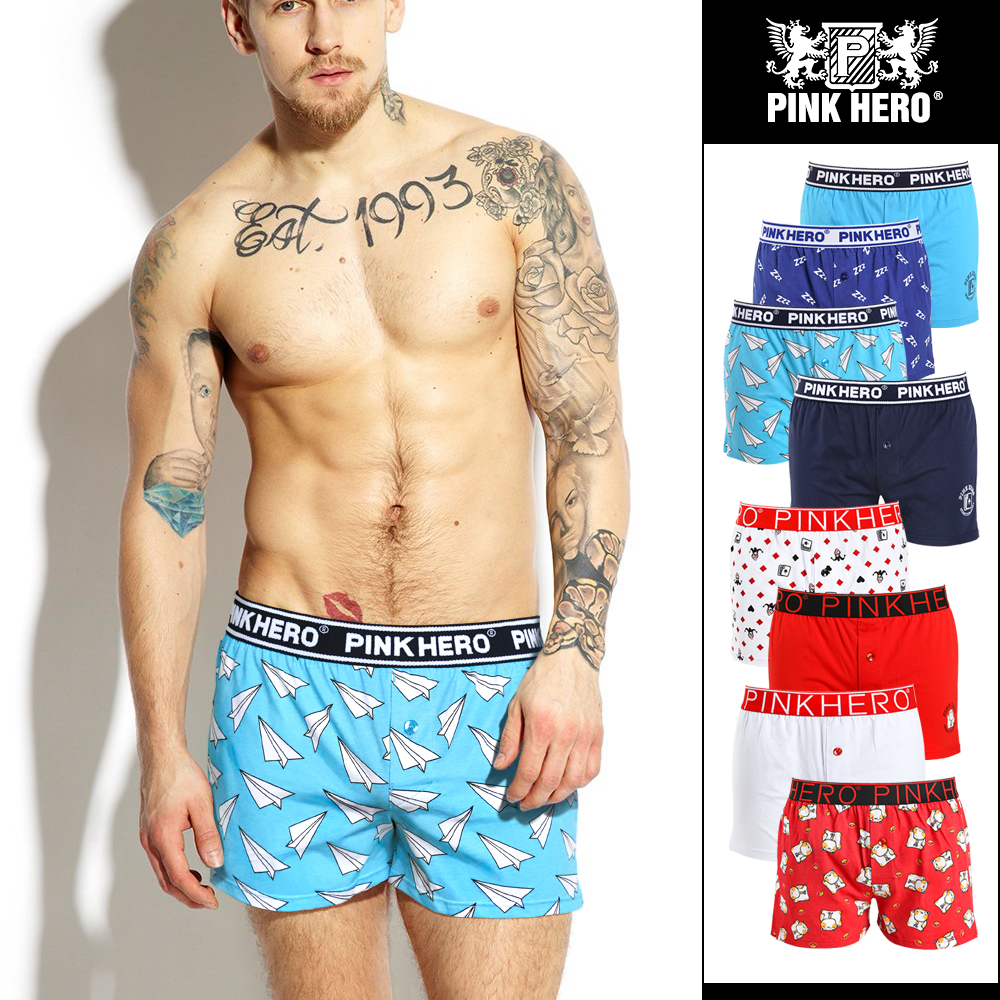 NEW Pink Heroes Men Underwear Board Shorts Fashion Printed Men Boxers Shorts 100% Cotton Men Trunk
