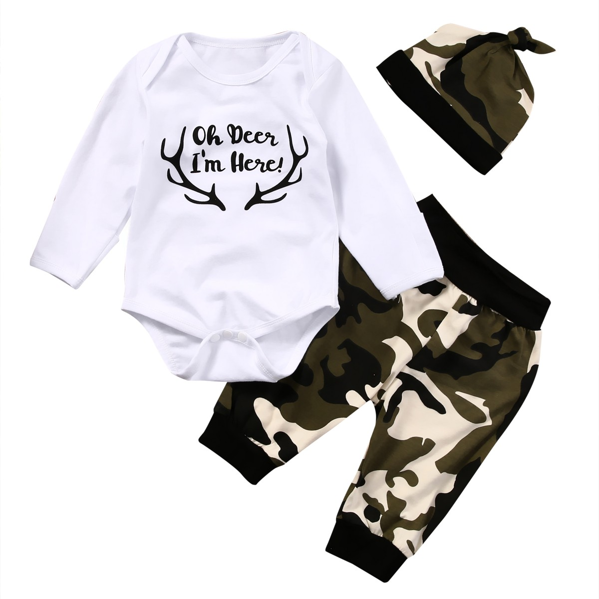 Newborn Kids Baby Boy Romper Tops+Camouflage Long Pants+Hat 3PCS Outfits Clothes