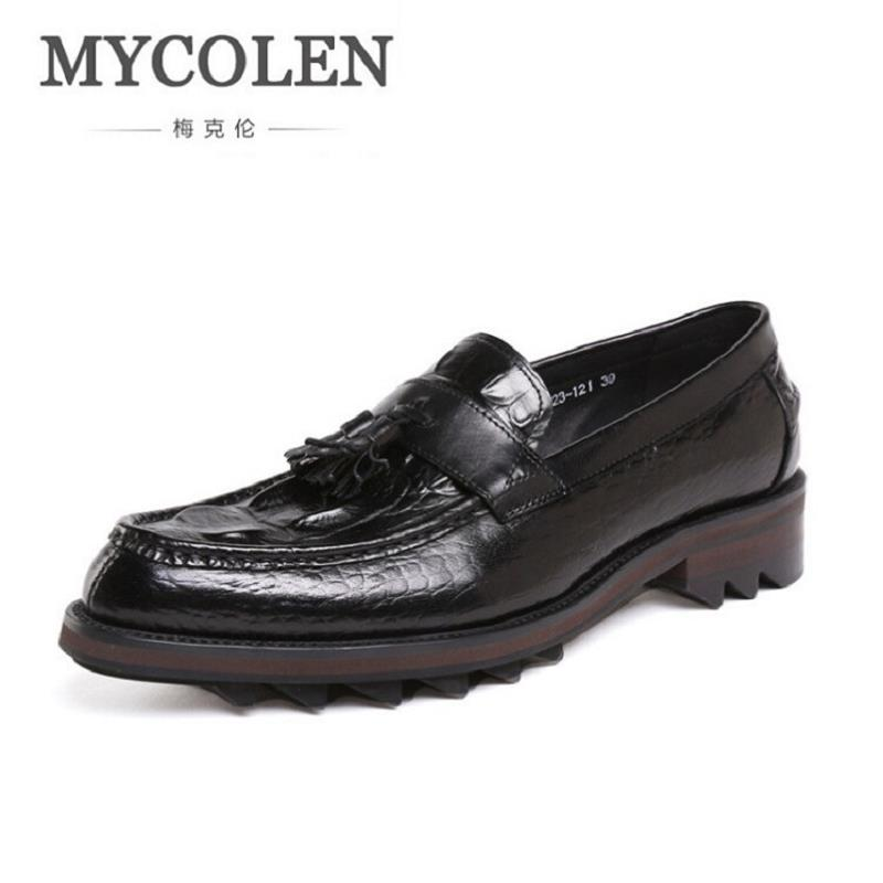 MYCOLEN Brand Designer Genuine Leather Men Shoes Luxury Loafers Black Crocodile Pointed Casual Shoes Men Mocassini Uomo mycolen casual shoes men genuine leather shoes soft comfortable male footwear men s shoes brand black loafers mocassin homme
