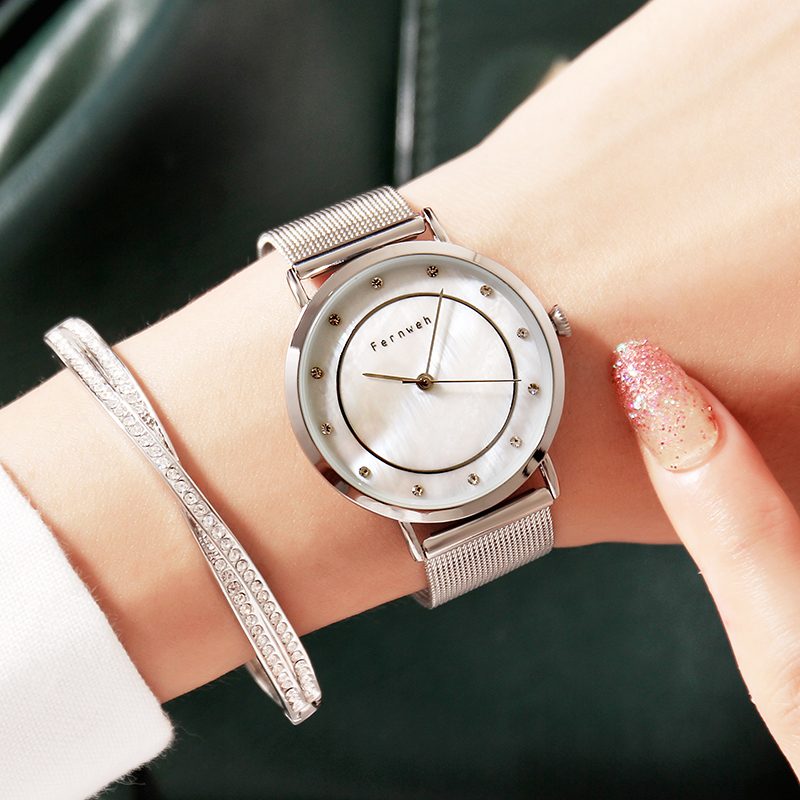 Luxury Brand Pear Shell dial Ladies Watches Fashion Quartz Women Watch Simple Milan Mesh Belt Waterproof Watch Reloj Mujer luxury pear shell dial ladies watches fashion green quartz women watch rose gold milan mesh belt waterproof watch reloj mujer